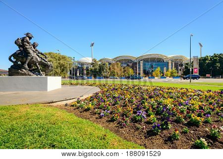 Adelaide Australia - April 14 2017: View at Adelaide Oval stadium East gates across King William roadfrom parklands on a bright day