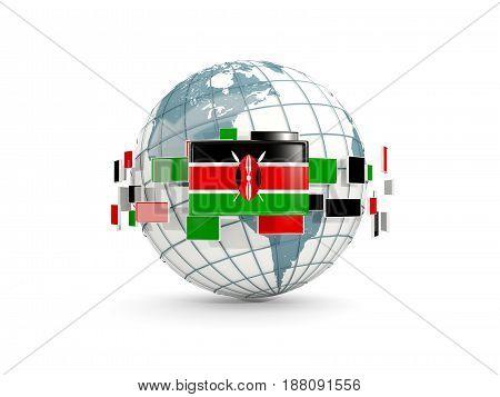 Globe With Flag Of Kenya Isolated On White