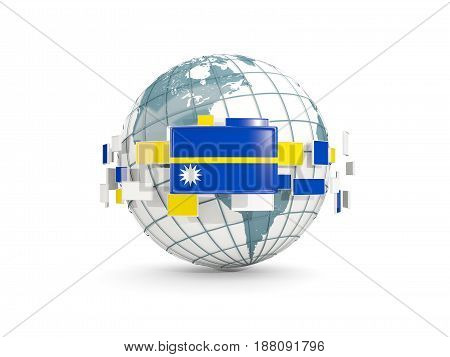 Globe With Flag Of Nauru Isolated On White