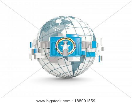 Globe With Flag Of Northern Mariana Islands Isolated On White