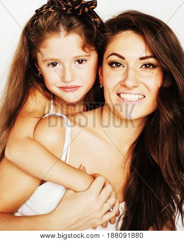 bright picture of hugging mother and daughter happy together, smiling stylish family, lifestyle people concept