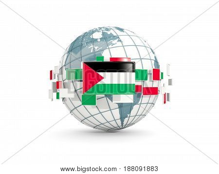 Globe With Flag Of Palestinian Territory Isolated On White