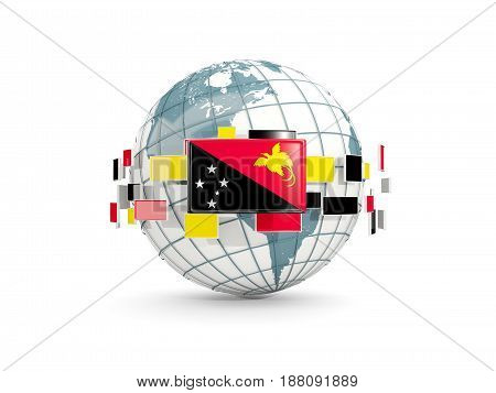 Globe With Flag Of Papua New Guinea Isolated On White