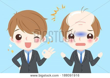 cute cartoon businessman with bald problem before and after