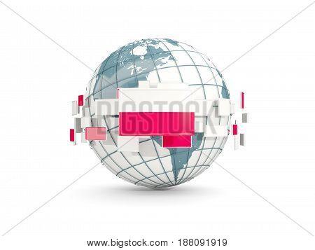 Globe With Flag Of Poland Isolated On White