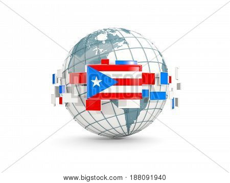 Globe With Flag Of Puerto Rico Isolated On White