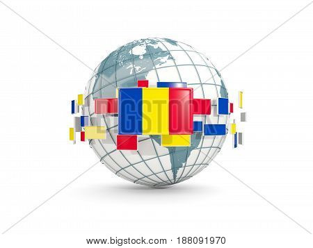 Globe With Flag Of Romania Isolated On White