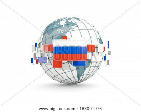 Globe With Flag Of Russia Isolated On White