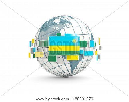 Globe With Flag Of Rwanda Isolated On White
