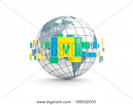 Globe With Flag Of Saint Vincent And The Grenadines Isolated On White