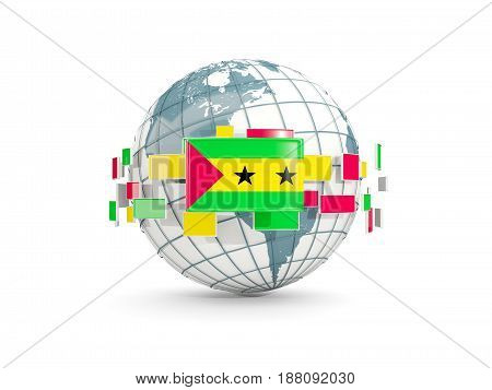 Globe With Flag Of Sao Tome And Principe Isolated On White