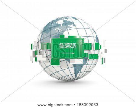 Globe With Flag Of Saudi Arabia Isolated On White