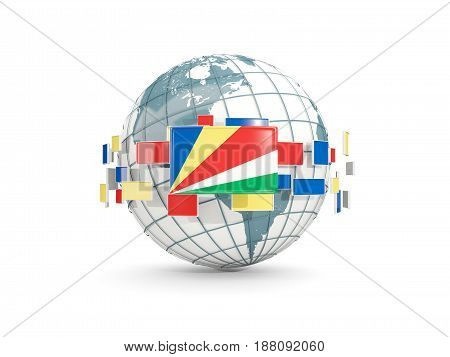 Globe With Flag Of Seychelles Isolated On White