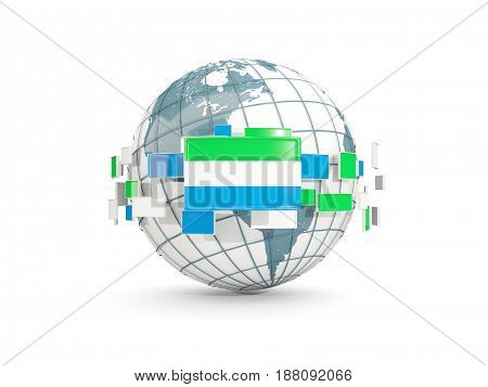 Globe With Flag Of Sierra Leone Isolated On White