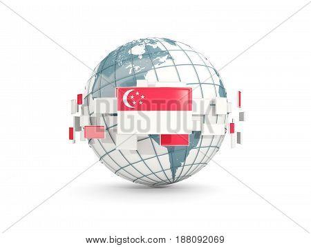Globe With Flag Of Singapore Isolated On White