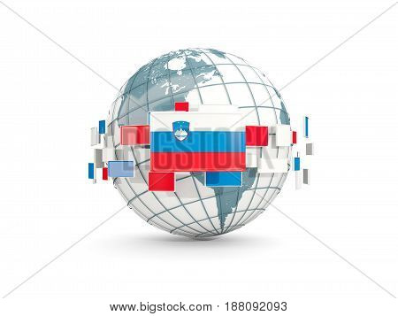 Globe With Flag Of Slovenia Isolated On White