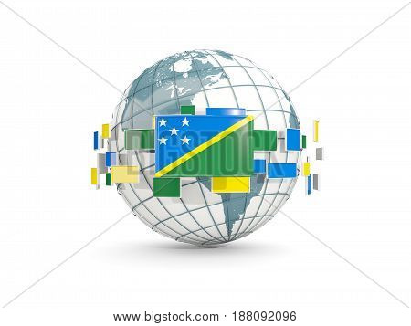 Globe With Flag Of Solomon Islands Isolated On White