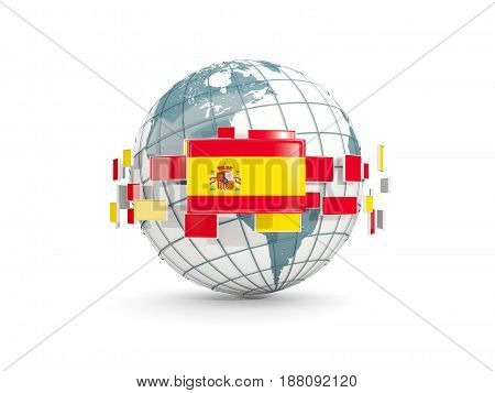 Globe With Flag Of Spain Isolated On White