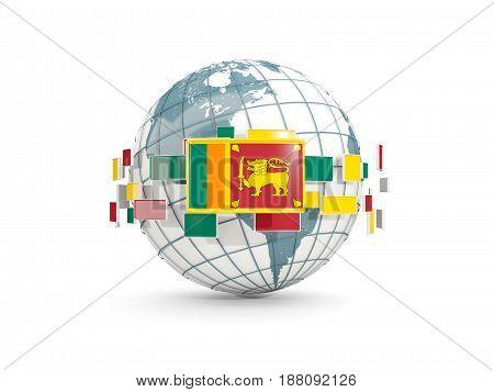 Globe With Flag Of Sri Lanka Isolated On White