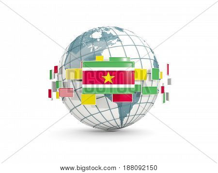 Globe With Flag Of Suriname Isolated On White