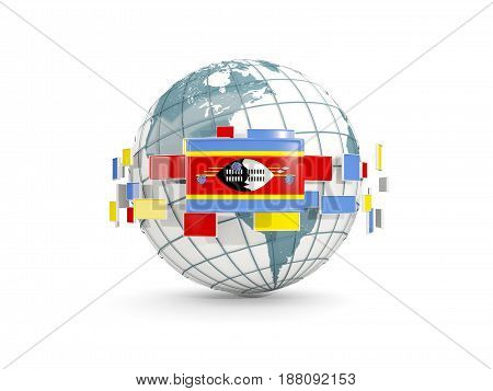 Globe With Flag Of Swaziland Isolated On White