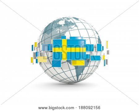 Globe With Flag Of Sweden Isolated On White