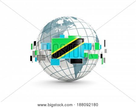 Globe With Flag Of Tanzania Isolated On White