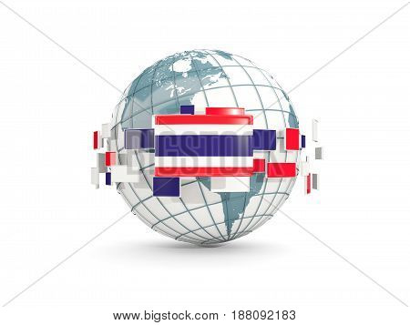 Globe With Flag Of Thailand Isolated On White