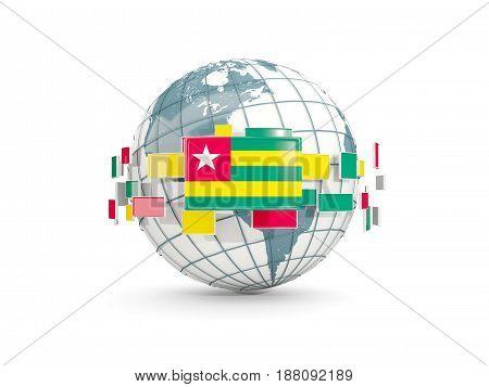 Globe With Flag Of Togo Isolated On White