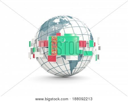 Globe With Flag Of Turkmenistan Isolated On White