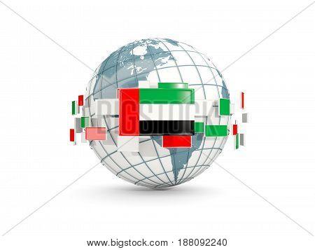 Globe With Flag Of United Arab Emirates Isolated On White