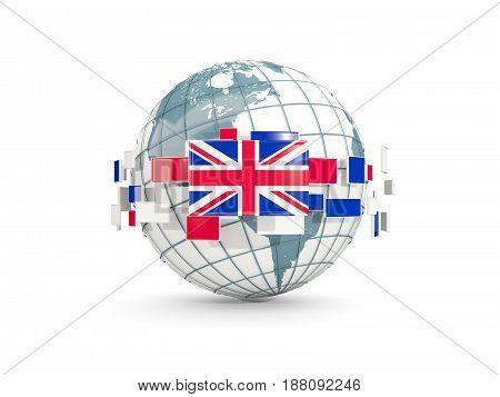 Globe With Flag Of United Kingdom Isolated On White