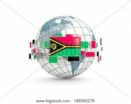 Globe With Flag Of Vanuatu Isolated On White