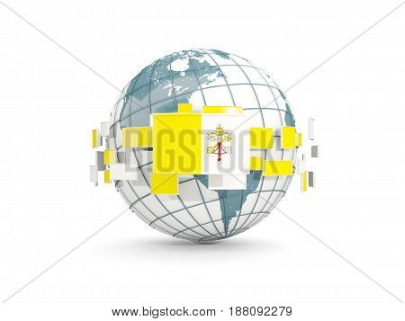 Globe With Flag Of Vatican City Isolated On White