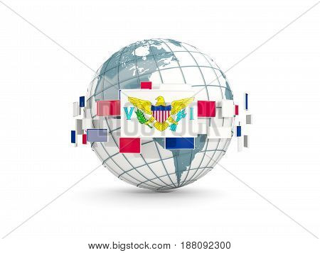 Globe With Flag Of Virgin Islands Us Isolated On White