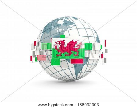Globe With Flag Of Wales Isolated On White