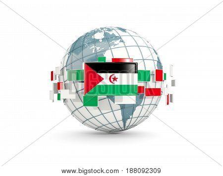 Globe With Flag Of Western Sahara Isolated On White
