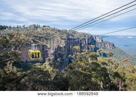 KATOOMBA, AUSTRALIA - MAY 30 2015: The cable sky way tour at Blue mountains national park, New south wales, Australia.