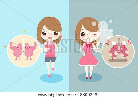 cute cartoon woman with lung health concept