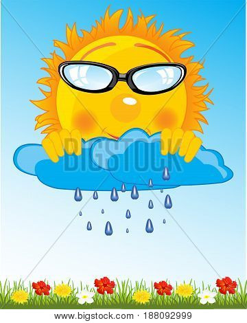 Cartoon sun and clouds with rain on sky