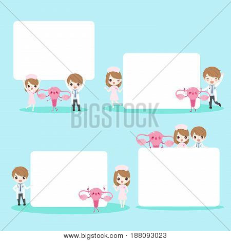 cute cartoon doctor take billboard with womb on background