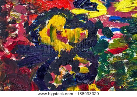 Multicolored abstract background with oil paints. Brush strokes. Riot of colors. Color transitions. Impressionism. Design Elements