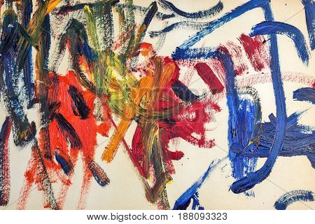 Abstraction of oil paints on canvas. Avant-garde art. Modern Art.
