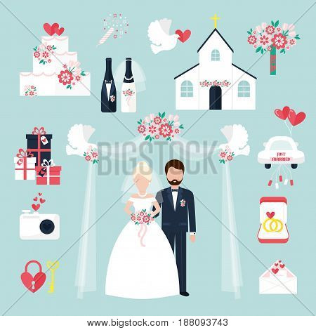 Wedding elements for infographics or invitation celebration set flat symbols romance decoration couple icons vector illustration. Romantic holiday flower party bride and groom anniversary