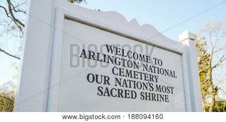 Arlington Cemetery Welcome sign - WASHINGTON - DISTRICT OF COLUMBIA
