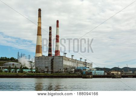 Petropavlovsk-Kamchatsky, Russia - August 15, 2016: Kamchatka CHPP-1 is the largest Thermal power plant in the Avacha Bay