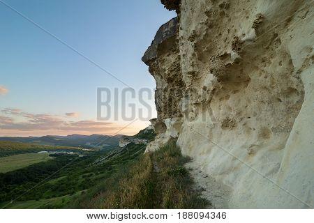 Walls of the Cave city Bakla in Bakhchysarai Raion, Crimea.
