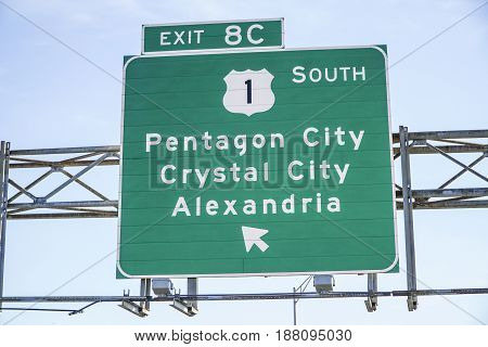 Street sign to Pentagon City - WASHINGTON - DISTRICT OF COLUMBIA