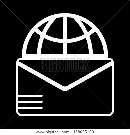Mail sign and globe vector icon. Black and white letter illustration. Outline linear post icon. eps 10