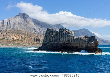 Seascape. View from the sea on the west coast of Crete. Greece.